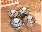 陶瓷碗 4.5寸可爱盖碗饭碗套装日韩式餐具 创意炖盅 釉下彩和风
