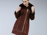 图萨尼羊毛皮毛一体2014新款女士皮草外套女冬中长款真皮皮衣