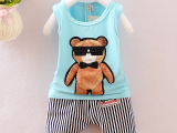 夏款童装男童套装泰迪熊背心两件套韩版纯棉厂家直销儿童套装批发