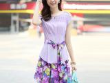 一件代发2014新款韩版宽不规则印花裙假两件雪纺连衣裙 微信代发