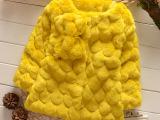 2014冬季女童装 新款纯色韩版 时尚无领短款 蝴蝶结皮草 厂家