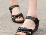 2014新款厚底坡跟凉鞋露趾花朵妈妈鞋中年大码凉鞋41-43真皮女鞋