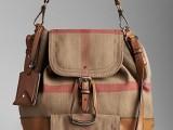 巴家新款 39087381 黄麻面料格子女包单肩包斜挎包水桶包