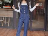 2015秋装新款牛仔裤女韩版修身显瘦自然腰牛仔背带小脚连体长裤子