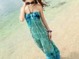 夏装波西米亚女装显瘦大码新款连衣裙 抹胸印花拖地长裙沙滩裙