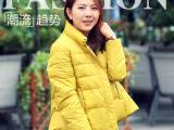 2014冬季新款不规则加厚羽绒棉服短款棉衣欧美女式外套 一件代发
