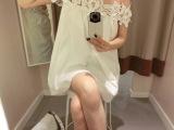 T80 定制款韩版质感水溶花朵蕾丝一字肩露肩白色娃娃裙连衣裙