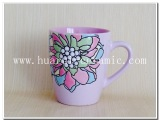 手绘精美花朵多色釉女士高品质水杯 玫红色鼓形杯 高工艺陶瓷礼品