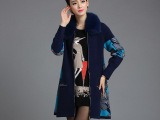 厂家直销 秋冬时尚貂绒衫大衣 狐狸毛领中长款加厚貂绒开衫女外套