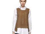 2015韩版修身中长款两件套背心衬衫打底镂空针织撞色长袖宽松上衣