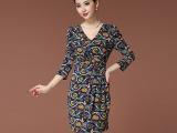 2014春季新款欧美显瘦修身印花连衣裙 深V领性感长袖连衣裙
