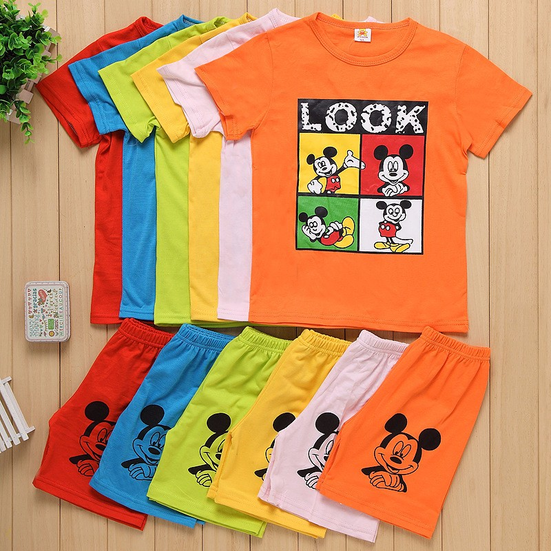 夏季儿童纯棉套装男女童运动休闲卡通短袖短裤两件套