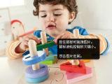 英国外贸原单ELC套柱智慧盘 形状认知配对积木 木制儿童益智玩具