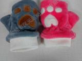 实物拍摄 正品库存 儿童冬季可爱猫掌保暖手套 冬天加绒加厚手套