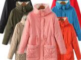 2014秋冬百搭腰部抽绳修身大口袋中长款羊羔绒毛领女棉衣外套