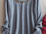 201欧美大牌范 时装珠宝圆领领口钉珠纯羊绒套头羊绒衫 毛衣