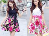 韩国女装夏季原创中长款碎牛奶丝收腰显瘦 V领短袖品牌连衣裙 OL