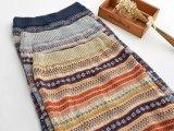 日系羊毛民族风提花半裙 北欧提花毛线半身裙