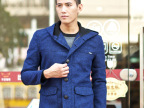 厂家直供2014秋冬季中长款男士连帽夹克 男韩版修身外套 一件代发