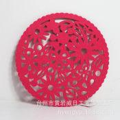 供应毛毡花型圆形餐垫 桌垫 无纺布餐垫加工定做 激光雕刻加工