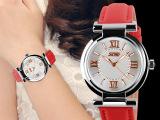 时刻美正品手表女士真皮女表石英表潮流时尚皮带手表防女表9075