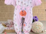 新款全棉宝宝连身衣爬爬服 捆脚卡通新生婴儿连体衣长袖哈衣批发