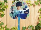塑料卡通101-3大柄小桃心扇子 工艺扇