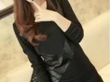 厂价批发13韩版性感百搭女装显瘦V领时尚黑色拼皮连衣裙 打底裙