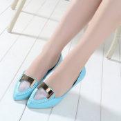 欧洲站大牌真皮尖头亮片平跟韩版休闲女鞋子单鞋 微信一件代发