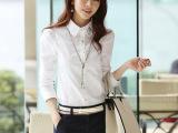 新款韩版大码女装衬衣烫钻上衣打底衫白衬衫女长袖