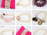 韩国时尚水晶串珠玻璃仿珍珠手链首饰 手饰混款地摊货源热卖批发