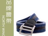 2012新款深蓝条纹帆布编织腰带纯棉厂家直销外贸原单男款女款