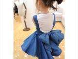 爱微儿201儿童女童 明星同款立体大蝴蝶结背带牛仔裙 童装批发