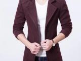 秋冬季男士风衣男中长款韩版修身加厚帅气呢子外套毛呢大衣男装潮