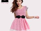 原创女装品牌夏装新款 韩版蕾丝花朵收腰百褶裙 时尚连衣裙88359