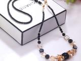韩版时尚大牌设计女士长款水晶项链 出口原单 义乌串珠饰品批发