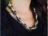 N097 韩版粗链条双色金黑时装饰品项链