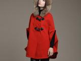 2014秋冬装女款新品 韩版毛呢大衣斗篷大衣毛领斗篷毛呢外套