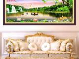 最新款十字绣客厅大幅山水画财源滚滚来丝线大格财运亨通风景大画