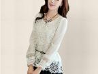韩国东大门代购女装 韩版修身蕾丝拼接收腰长袖打底连衣裙