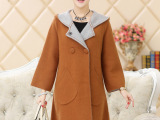 韩版风衣秋冬新连帽款加厚中长款貂绒大衣 女双排扣针织毛呢外套