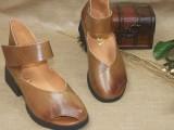 新款凉鞋手工鞋低跟复古民族风女鞋鱼嘴鞋低跟粗跟鞋女鞋一件代发