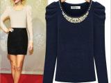 2013冬季新款 欧美明星款长袖冬款 圆领钉珠针织衫 女式打底衫