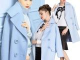 2014冬装女装新款明星气质高端羊绒毛呢大外套大衣微信代理批发爆