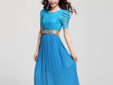 2014夏装新款韩版气质时尚收腰泡泡袖短袖雪纺中长裙连衣裙