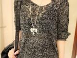 欧美宽松镂空针织衫V领线衫纯色新款春秋薄外套女套头蝙蝠袖毛衣
