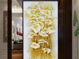蒙娜丽莎较新款印花十字绣画华丽百合花竖版客厅玄关过道客厅卧室