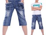 一件起批童装儿童牛仔裤 男童马裤 2015新款大童裤夏外贸童装尾