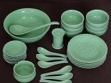 龙泉青瓷陶瓷碗碟骨瓷盘子 瓷器餐具整套26头中式家用礼品套装