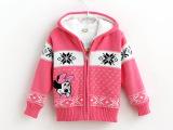 欧美外贸童装 秋冬款卡通加厚羊羔毛女童毛衣外套 时尚提花童毛衣